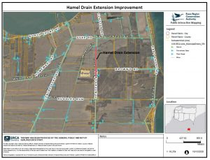 Hamel Drain Extension Improvement Map showing location of drain